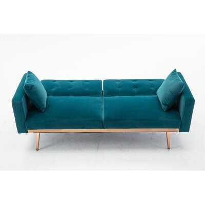 Velvet  Sofa , Accent Sofa .Loveseat Sofa With Rose Gold Metal Feet  And  Navy  Velvet - Wayfair