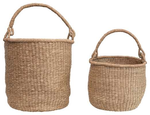 """20.5"""" & 16"""" Handwoven Seagrass Baskets with Handles (Set of 2 Sizes) - Nomad Home"""