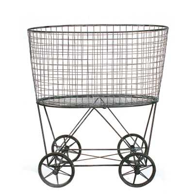 Vintage Metal Laundry Basket with Wheels - Nomad Home