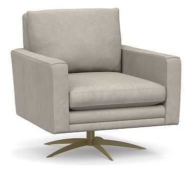 Milo Leather Swivel Armchair, Polyester Wrapped Cushions, Statesville Pebble - Pottery Barn