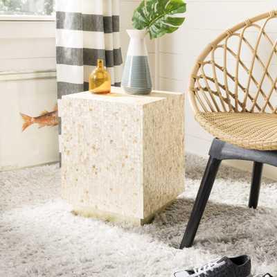 Juno Rectangle Mosaic Side Table - Multi Beige/Gold - Arlo Home - Arlo Home