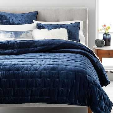 Lush Tack Stitch Quilt, King, Midnight - West Elm