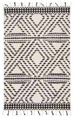 Nikki Chu by Roka Handmade Trellis Ivory/ Black Area Rug (9'X12') - Collective Weavers