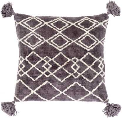 "Avah Pillow Cover, 18""x 18"", Charcoal - Roam Common"