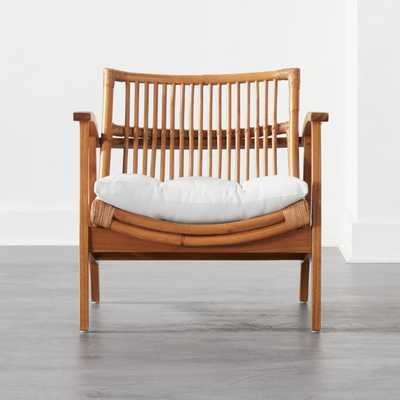 Noelie Rattan Lounge Chair with White Cushion - CB2