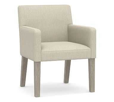 PB Classic Upholstered Dining Arm Chair, Gray Wash Frame, Chenille Basketweave Oatmeal - Pottery Barn