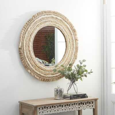 """Large Round Wood And Wicker Beige Wall Mirror 38""""D - Wayfair"""