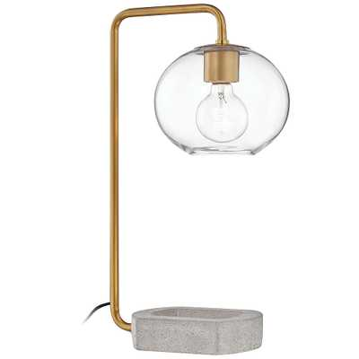 Mitzi Margot Aged Brass Accent Table Lamp with Concrete Base - Style # 69V51 - Lamps Plus