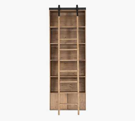 """Braemar 35.5"""" x 98"""" Bookcase With Ladder, Smoked Pine - Pottery Barn"""