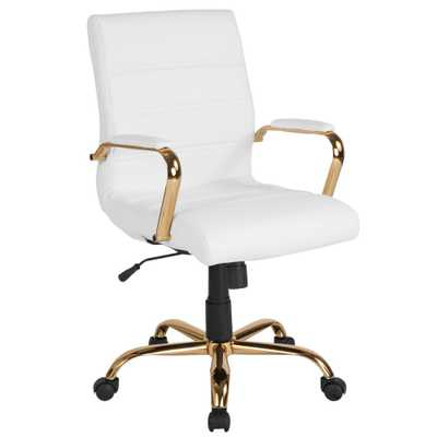 Flash Furniture White Leather/Gold Frame Office/Desk Chair - Home Depot