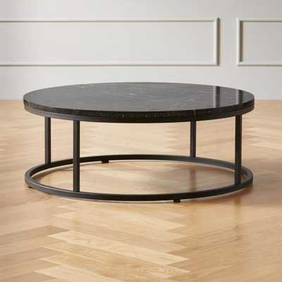 Smart Round Black Marble Coffee Table - CB2