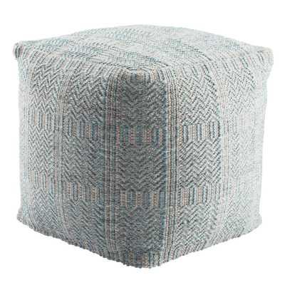 Destrie Indoor/ Outdoor Tribal Light Blue/ Light Gray Cube Pouf - Collective Weavers