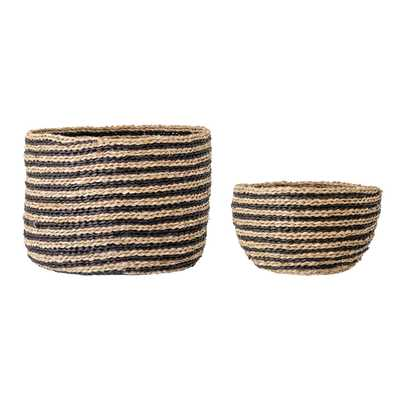 Handwoven Striped Seagrass Baskets (Set of 2 Sizes) - Moss & Wilder