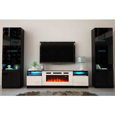 "Delaine Entertainment Center for TVs up to 88"" with Electric Fireplace Included - Wayfair"