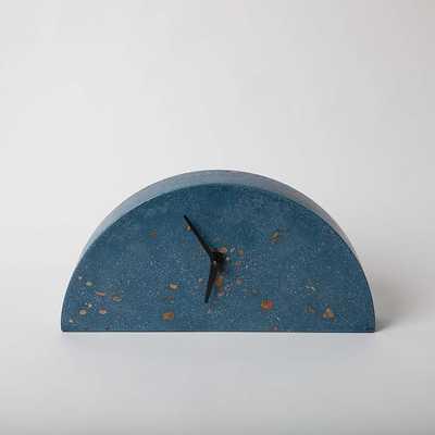 Mantle Clock Concrete Cobalt Terrazzo Clock - West Elm