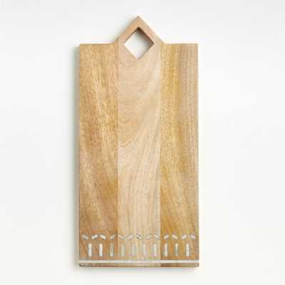 Isadore Rectangle Marble Inlay Wood Serving Board - Crate and Barrel