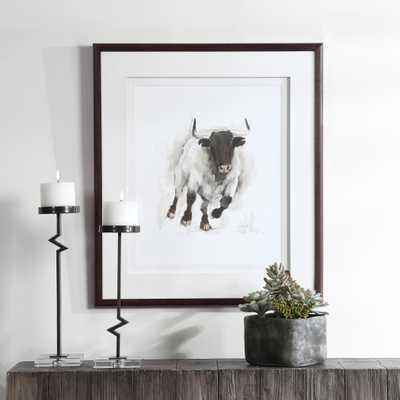 Rustic Bull Framed Animal Print - Hudsonhill Foundry