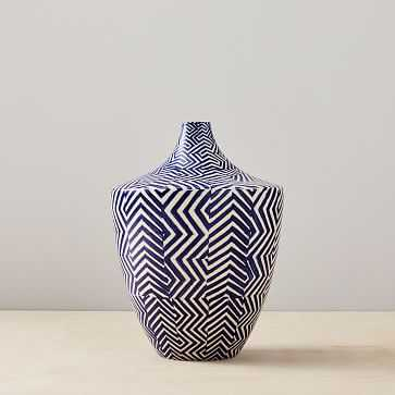 Cody Hoyt Ceramic Vase, Blue + White - West Elm