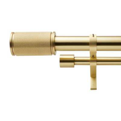 """Brushed Brass Amp Finial Double Rod Curtain Rod Set 88""""-120"""" - CB2"""