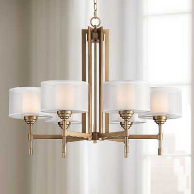 """Beauchamp 32"""" Wide Gold Finish Double Shade 6-Light Chandelier - Style # 86M17 - Lamps Plus"""