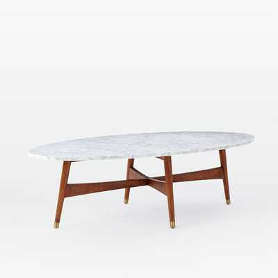 Reeve Mid-Century Oval Coffee Table - Marble/Walnut - West Elm