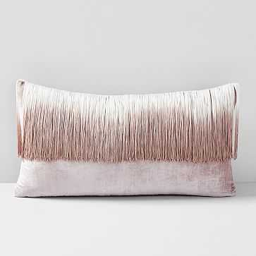 """Lush Velvet Tassel Fringe Pillow Case, Dusty Blush, 14""""x26"""" - West Elm"""