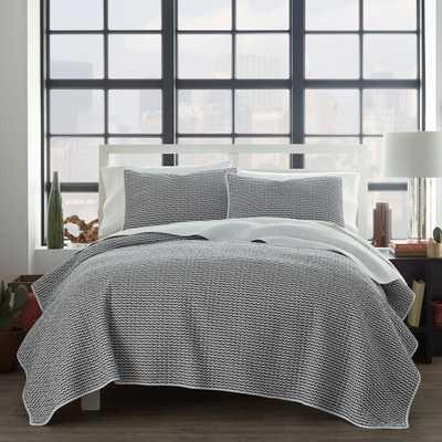 City Scene Leaves Black Cotton 3-Piece Full/Queen Quilt Set - Home Depot
