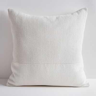 """Cotton Canvas Pillow Cover with Down Alternative Insert, Stone White, 24""""x24"""" - West Elm"""