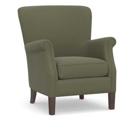 SoMa Minna Roll Arm Upholstered Armchair, Polyester Wrapped Cushions, Performance Heathered Velvet Olive - Pottery Barn