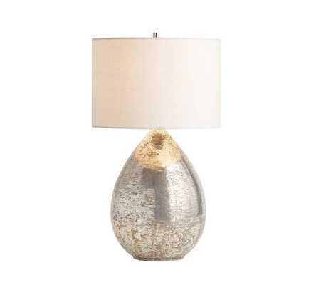 "Mila Antique Mercury Table Lamp with Small Gallery Straight Sided Shade, 22"", White - Pottery Barn"