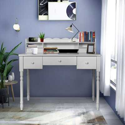 Writing Desk With Detachable Hutch& 5 Drawers,Modern Computer Workstation For Home Office,Makeup Vanity Table(Gray) - Wayfair