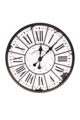 Turn of The Century Style Metal and Wood Wall Clock - Nomad Home