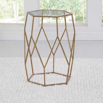 Halloway Glass Top Drum End Table - Wayfair