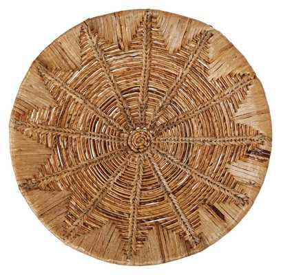 """27.5"""" Round Handwoven Banana Bark & Water Hyacinth Basket Wall Décor - Moss & Wilder"""