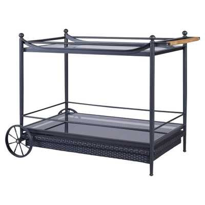 Olivia Knob Woven Black Outdoor Bar Cart - Kathy Kuo Home