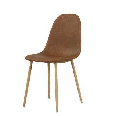 Hanshaw Leather Side Chair in Brown - Wayfair