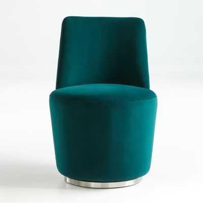 Ofelia Hunter Green Velvet Swivel Dining Chair - Crate and Barrel