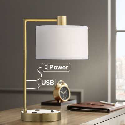 Colby Antique Brass Desk Lamp with Outlet and USB Port - Style # 79P28 - Lamps Plus