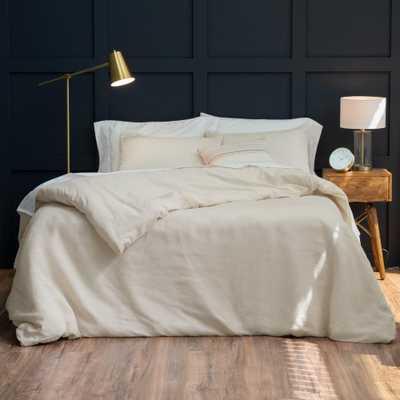 WELHOME The Relaxed Linen Cotton Oatmeal Full/Queen Duvet Cover Set - Home Depot