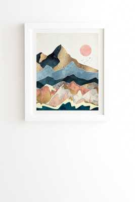 """Golden Peaks by SpaceFrogDesigns - Framed Wall Art Basic White 19"""" x 22.4"""" - Wander Print Co."""
