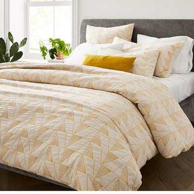 Textural Cotton Linework Duvet & King Sham, Sand Dune, King - West Elm