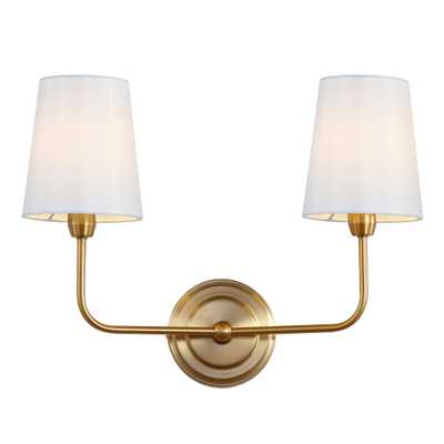 Ezra Two Light Wall Sconce - Brass/White Shade - Arlo Home - Arlo Home