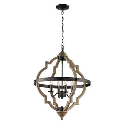 Bel Air Lighting 6 Light Bronze Pendant with Faux Wood Shade - Home Depot