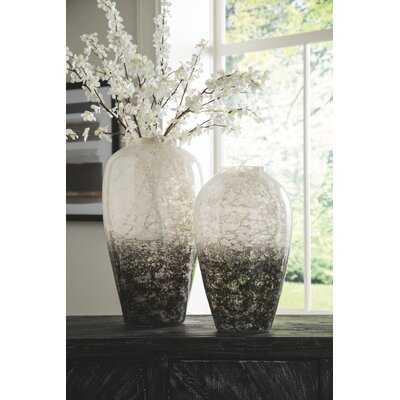 2 Piece Black/White Glass Table Vase Set - Wayfair