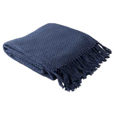 Kaiya Modern Classic Navy Blue Woven Cotton Throw Blanket - Kathy Kuo Home