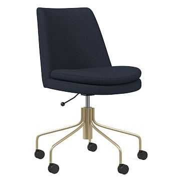 Finley Office Chair, Basket Slub, Midnight, Antique Brass - West Elm