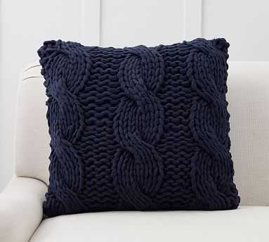 """Colossal Handknit Pillow Cover, 24"""", Navy - Pottery Barn"""