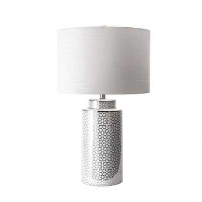 nuLOOM 29 in. Silver Austin Ceramic Floral Trellis Indoor Table Lamp - Home Depot