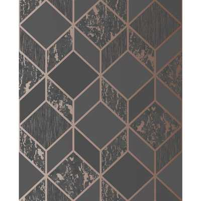 Superfresco Vittorio Geometric Charcoal and Rose Gold Removable Wallpaper, Charcoal/Rose Gold - Home Depot