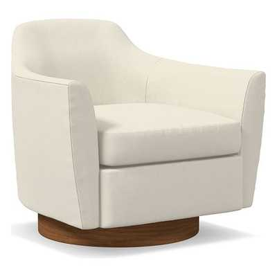 Haven Swivel Chair, Poly, Luxe Boucle, Stone White, Dark Walnut - West Elm